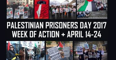 Samidoun: Call to Organize – Palestinian Prisoners Week of Action – 14 to 24 April 2017